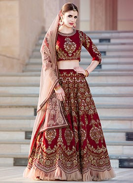 Maroon Art Silk Umbrella Lehenga