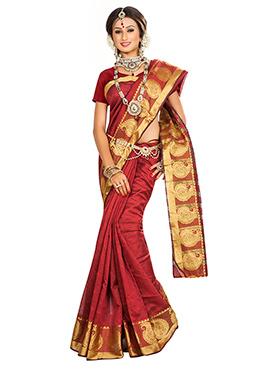 Maroon Art Silk Zari Weaved Border Saree