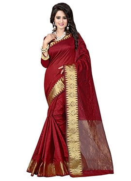 Maroon Art Tussar Silk Saree