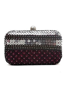 Maroon Beads Embellished Stylish Box Clutch