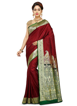 Maroon Benarasi Pure Handloom Silk Saree