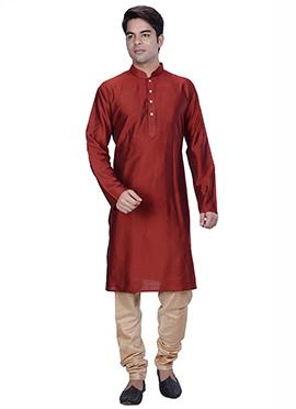 Maroon Benarasi Silk Cotton Kurta Pyjama
