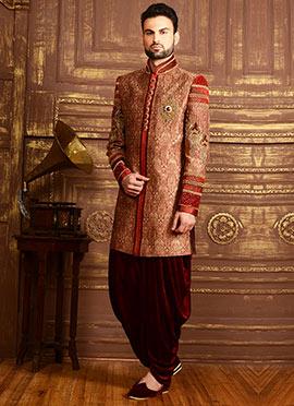 Maroon Benarasi Silk Dhoti Style Achkan Sherwani