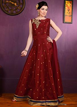 Maroon Bhagalpuri Silk Anarkali Suit
