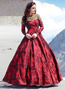Maroon Blended Cotton Ball Gown