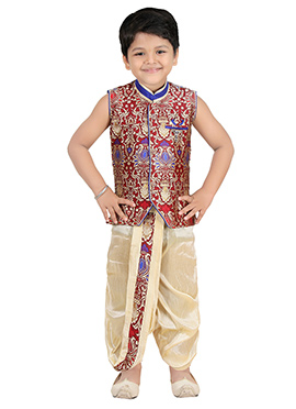 Maroon Blended Cotton Kids Dhoti Kurta