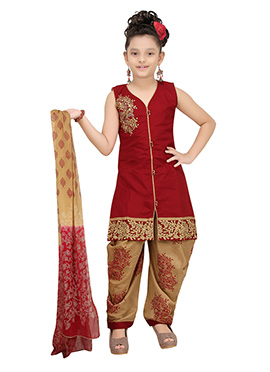 Maroon Blended Cotton Kids Patiala Suit
