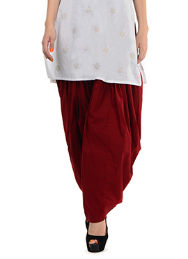 Maroon Blended Cotton Patiala Pant