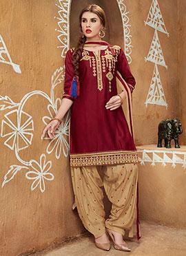 Maroon Blended Cotton Salwar Suit