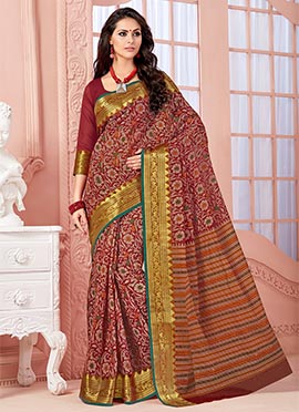 Maroon Blended Cotton Saree