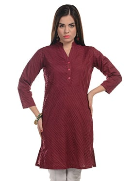 Maroon Blended Cotton Striped Kurti