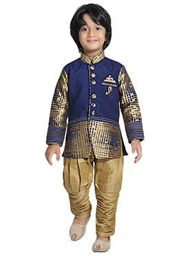 Dark Blue N Gold Boys Indowestern Sherwani