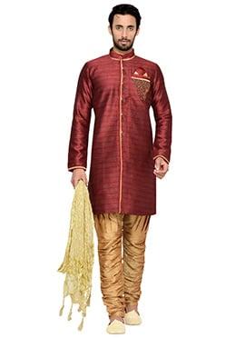 Maroon Breeches Style Indowestern Sherwani