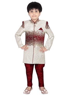 Maroon Breeches Style Kids Kurta Pyjama