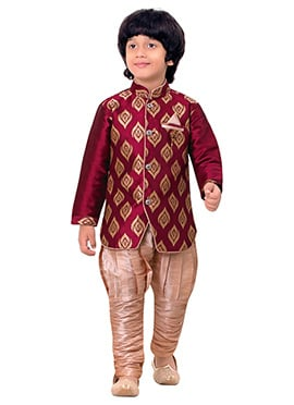 Coral red Breeches Style Kids Sherwani