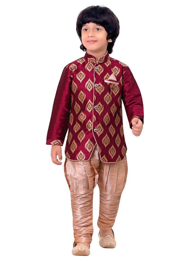 Buy Coral Red Breeches Style Kids Sherwani Boys Sherwani