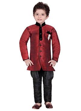 Maroon Breeches Style Kids Sherwani