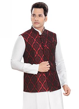 Maroon Brocade Nehru Jacket