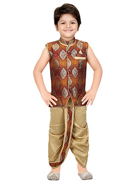 Maroon Brocade Kids Dhoti Kurta