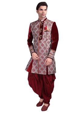 Maroon Brocade Patiala Style Sherwani