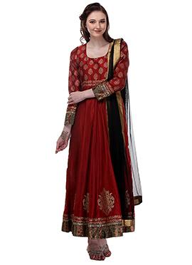 Maroon Chanderi Anarkali Suit