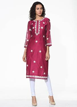 Maroon Chanderi Blended Cotton Kurti