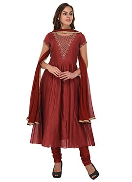 Maroon Chanderi Silk Anarkali Suit