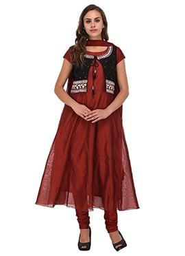 Maroon Chanderi Silk Jacket Style Anarkali Suit