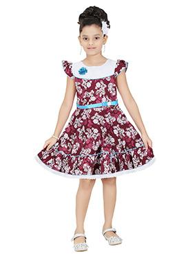 Maroon Cotton Kids Dress