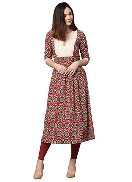 Maroon Cotton Long Kurti