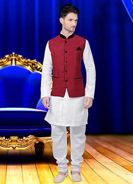 Maroon Cotton Nehru Jacket