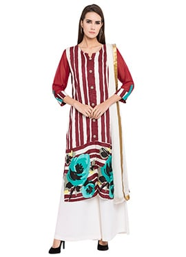 Maroon Cotton Palazzo Suit