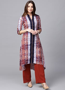 Maroon Cotton Rayon Knee Length Kurti