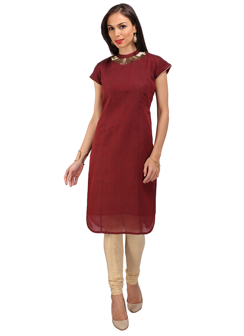 Buy Maroon Cotton Silk Kurti Embroidered Knee Length
