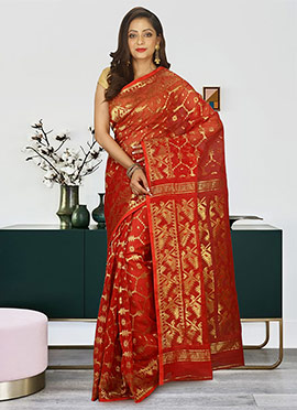 Maroon Cotton Silk Jamdani Saree