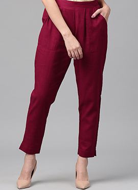Maroon Cotton Straight Pant