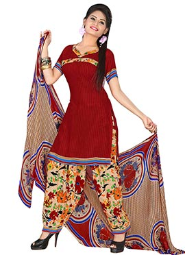 Maroon Crepe Printed Semi Patiala Suit