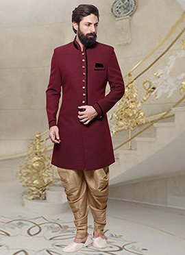 Maroon Dhoti Style Indo Western Sherwani