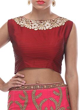 Maroon Embellished Silk Blouse