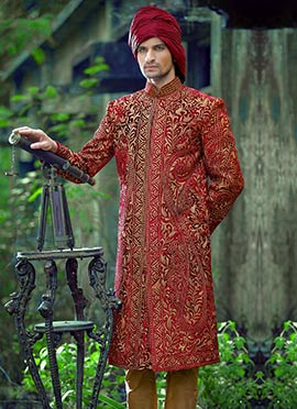Maroon Embroidered  Sherwani