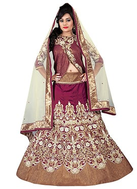 Burgundy Embroidered A Line Lehenga Choli
