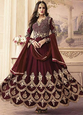 Maroon Embroidered Abaya Style Anarkali Suit