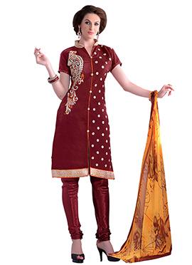 Maroon Embroidered Churidar Suit
