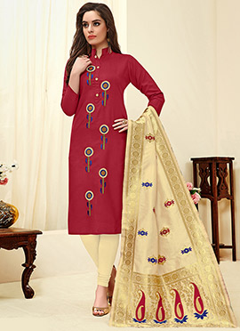 Maroon Embroidered Churidar Suit
