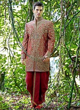 Maroon Embroidered Dhoti Style Sherwani
