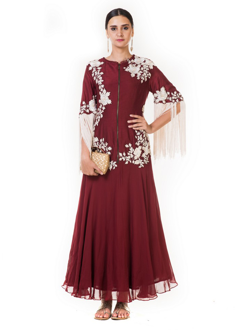 d523c4cafc Buy Maroon Embroidered Gown, Embroidered, dresses and gown ...