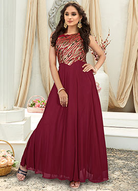 Maroon Embroidered Gown