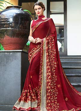 Maroon Embroidered Saree
