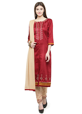 Maroon Embroidered Straight Pant Suit