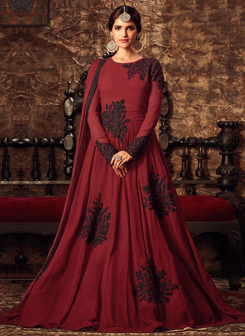 Buy Maroon Georgette Abaya Style Anarkali Suit, Stones ...